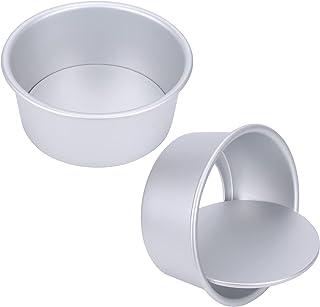 AILANDA 2PCS Moule Patisserie Rond en Aluminium Moules à Pâtisserie Haut Moules à Gâteaux 15cm avec Revêtement Antiadhésif...