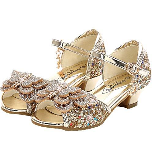 Fanessy Sandales Princesse Chaussure à Talon Ballerie pour Soirée Mariage Cérémonie Mode Argenté Doré Chaussure de Danse Latin Déguisement Grande Taille de 17.5-23.5cm EU26-38