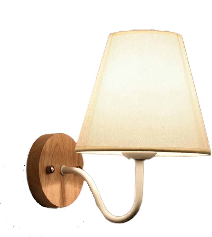 CDREAM Wandlampe Modernes Minimalistisches Design Wohnzimmer Lampe Schlafzimmer Nachttischlampe Gang Stoff Wandleuchte Massivholz-Lampe,B-Weiß