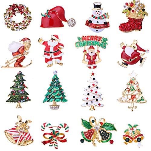 STOBOK 12 piezas aleación broche de navidad alfileres rhinestone navidad exquisito broche de dibujos animados disfraz pin de solapa joyería pecho/patrón aleatorio