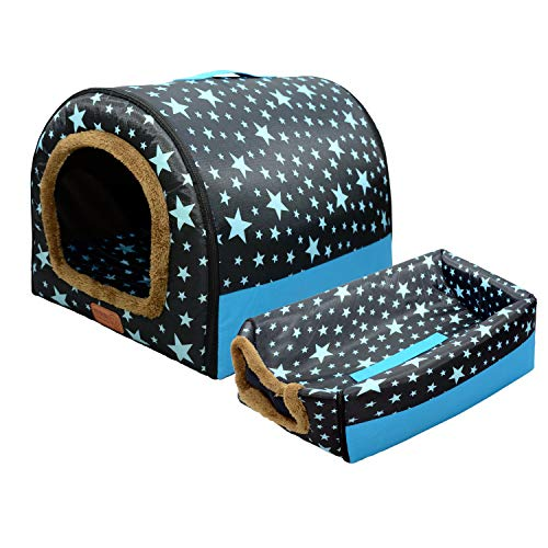 BQKOZFIN ペットハウス ベッド ドーム型 幅35cm 犬小屋 犬ハウス 犬ベッド 犬 猫 小型犬 多用 暖かい 2WAY ハチの巣形 洗える 滑り止め 2.5kg以内に適用可能 Sサイズ