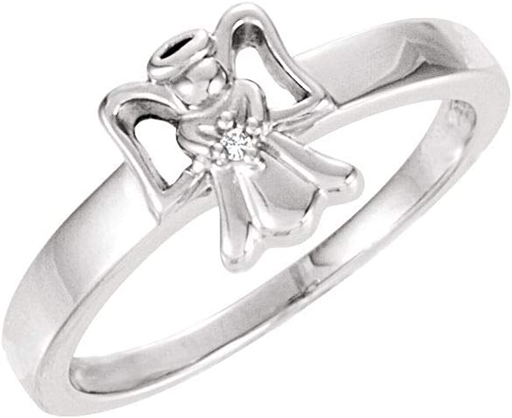 Solid 14k White Gold .005 CT Diamond Girls Youth Child Angel Ring Band (Width = 7.5mm)