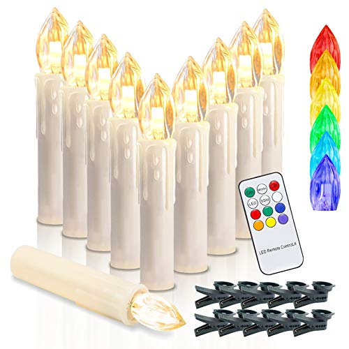 wolketon LED Weihnachtskerzen Kabellos Kerzen, LED Christbaumkerzen mit Timer, Beige, Warmweiß und RGB, Flammenlose (30er LED Kerzens)