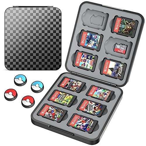 HEYSTOP Spielkarten-Hülle, kompatibel mit Nintendo Switch Spielen, 12 Steckplätze, schützende Box, schlanke und tragbare Schutzschale, Schalter, Speicherkartusche mit 4 Joy-Con Daumenkappen, schwarz