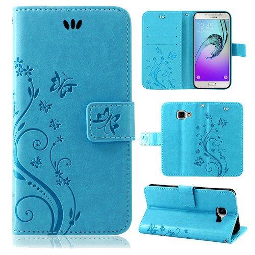 betterfon | Flower Cover Handytasche Schutz Hülle Blume Case Buch Klapptasche Handyhülle Handy Schale für Samsung Galaxy A3 (6) 2016 SM-A310 Blau