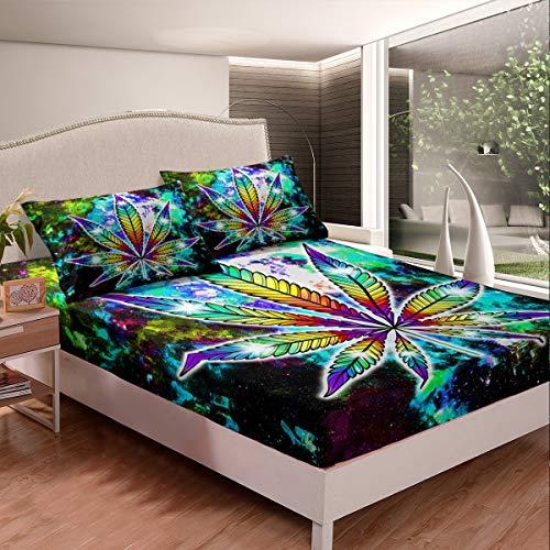 Juego de sábanas de marihuana con hojas de marihuana, juego de sábanas para niños y niñas brillante Galaxy sábana bajera colorida con cielo estrellado