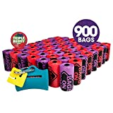 Bags on Board Odor Control Dog Poop Bags and Dispenser | Strong, Leak Proof Dog Waste Bags | Triple Berry Scent | 9 x14 Inches, 900 Waste Pickup Bags
