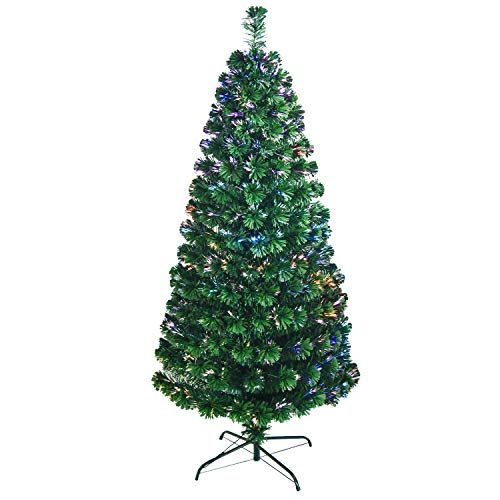 MOLANEPHY 7 FT Pre-lit Artificial Christmas Tree, Pure Fiber Optic Multi Light Sources Fir Xmas Tree, 270 Branches Indoor Christmas Tree with Metal Stand for Christmas Decoration