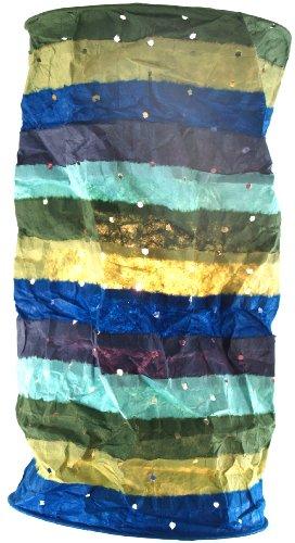 Guru-Shop Runde Papier Hängelampe, Lokta Papierlampenschirm Pamir, Handgeschöpftes Papier - Icemint, Lokta-Papier, 50x20x20 cm, Handgemachte Deckenleuchte