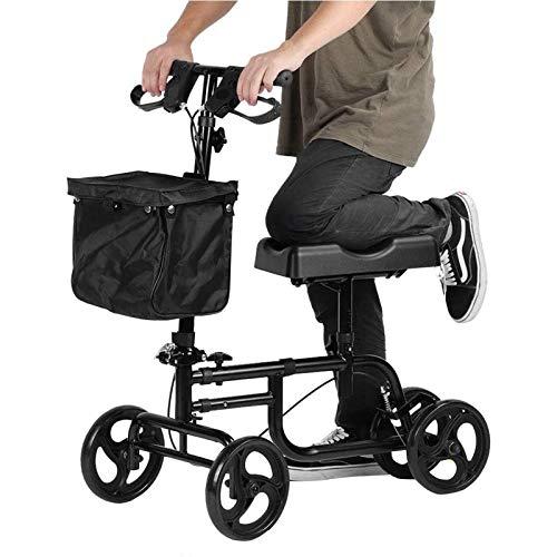 Andador Con Ruedas Orientable, Para Personas Mayores Movilidad, Ayudas Para Caminar Con Ruedas, Andador Con Rodillas, Patinete Orientable, Altura Ajustable, Carro Con Cuatro Rodillos Para Rodillas