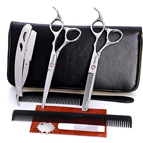 XJPB Tijeras de Corte de Cabello Profesional Conjunto Peluquería Tijeras Kit Acero Inoxidable 6,0 Pulgadas para Home Salon Barber Men Mujer