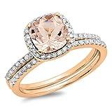 Dazzlingrock Collection 10K Cushion Morganite & Round White Diamond Bridal Halo Engagement Ring Set, Rose Gold, Size 9