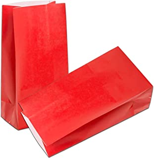 50 CT Red Paper Party Favor Bags Biodegradable Kraft Paper Bags Paper Lunch Bags by KEYYOOMY