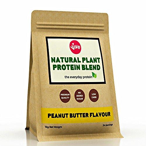 Vive Bio Vegan Proteinpulver, cremiger natürlicher Geschmack | Pflanzliche Proteinquelle - Reis & Erbsen (1kg)