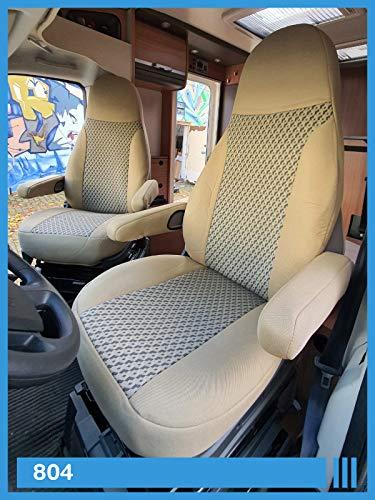 Maß Sitzbezüge kompatibel mit Wohnmobil Fahrer & Beifahrer FB:804 (beige & grau)