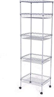 JS HOME Storage Shelves, 5-Tier Wire Shelving Unit with Baskets, 13.78