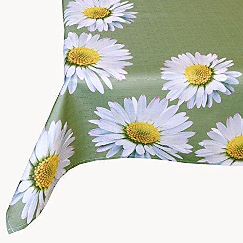 Raebel OHG Apolda Tischdecke Eckig 130x170 cm Pflegeleicht Oliv Gänseblümchen Tischtuch Tischdekoration Gartendecke