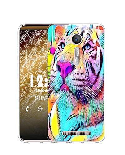 Sunrive Kompatibel mit ASUS Zenfone Go ZB500KL Hülle Silikon, Transparent Handyhülle Schutzhülle Etui Hülle (Q Farbiger Tiger)+Gratis Universal Eingabestift MEHRWEG