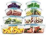 KICHLY - Recipientes de vidrio para comida - 16 piezas (8 envases, 8 transparente tapas) - apto para lavavajillas y microondas - a prueba de fugas y sin BPA - aprobado por la FDA y la FSC