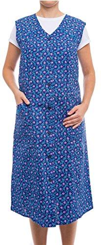 Tobeni Damen Kittelschürze Knopf-Kittel lang in 100% Baumwolle ohne Arm mit Taschen Farbe Design 3 Grösse 42