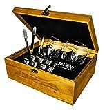Juego de piedras de whisky de acero inoxidable, reutilizables, caja de madera con 2 vasos, pinzas y 8 cubos de SnowCrystal