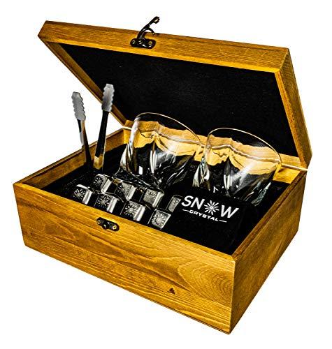 Whisky Steine Set Edelstahl wiederverwendbar Geschenk Holz Box mit 2 Gläsern, Zange und 8 Cubes SnowCrystal