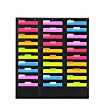 Heavy Duty Storage Pocket Chart with 30 Pockets, 5 Over Door Hangers Included | Hanging Wall File Organizer by Hippo Creation - Organize Your Assignments, Files, Scrapbook Papers & More (Black)