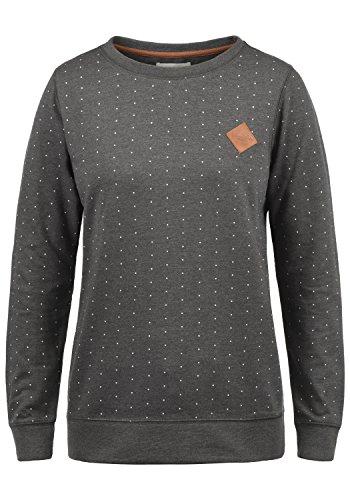 BlendShe Polly Damen Sweatshirt Pullover Sweater Mit Rundhalsausschnitt, Größe:XL, Farbe:Dark Grey Melange (20044)