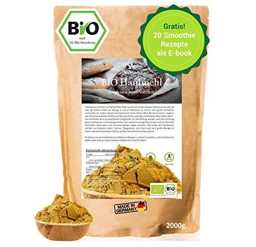 BIO Hanfmehl aus Deutschland 2kg, Hanfsamen Mehl vegan, Canabis Sativa, Alternative zum Hanfprotein