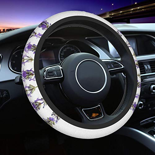 Lavender Pattern Steering Wheel Cover for Women Men, Universal 15 Inch Anti Slip and Sweat Absorption Auto Car Wrap Cover, Fit Suvs, Vans, Sedans, Cars, Trucks