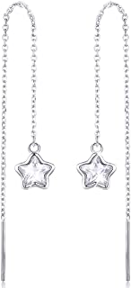Star Earrings Sterling Silver Tassel Threader Dangle Earrings for Women Girls Hypoallergenic