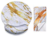 Gold Streak Marble Ergonomic Design Cute Mouse Pad with Wrist Rest Hand Support. Round Large Mousing Area. Matching Microfiber Cleaning Cloth for Glasses & Screens. Great for Gaming & Work