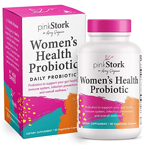Pink Stork Women's Health Probiotic: Probiotics for Women with 10 Billion CFU to Support Vaginal Health, Digestion, Nutritional Yeast, Gut Bacteria, Immune Support, Women-Owned, 30 Capsules