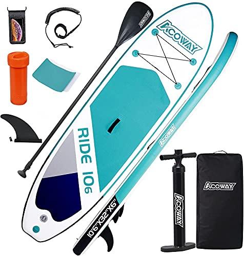 ACOWAY Tavola gonfiabile Stand Up Paddle, 320 x 81,5 x 15 cm, con 180 kg, antiscivolo, set per tavola da surf, tavola da surf, set completo di accessori, pompa ad alta pressione, zaino