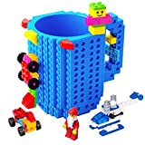 BOMENNE Build-on Brick Mug,Novelty Creative DIY building Blocks Puzzle Cups with 3 packs of Blocks,Unique Kids Party Fun Cup Compatible with Lego,Father's day Present Christmas Gifts,Blue