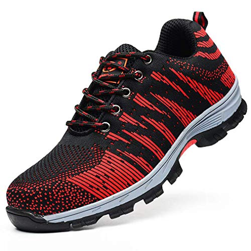 QINGMM stalen teen schoenen, industriële constructie veiligheid sneakers, ademende werkschoenen, lekbestendige metalen atletische trainers voor buiten