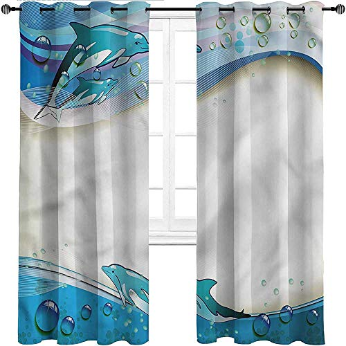 """HouseLookHome Window Curtain Panel Ocean Thermal Insulated Energy Efficient Shades Dolphins Sea Waves Drops for Studyroom 2 Grommet Top Curtain Panels, 38"""" W x 45"""" L"""