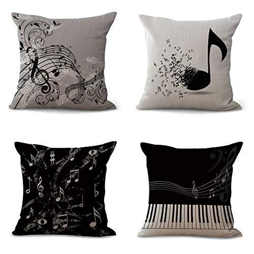 4 pezzi Federa per Cuscino con Note Musicali, Decorazione per Divano, 45 x 45 cm C
