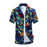 Camisa Hawaiana para Hombre Camisas de Playa Estampadas Casuales para Hombre Manga Corta 5XL Azul