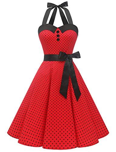 Dressystar, abito vintage a pois, stile rockabilly, anni '50, anni '60, con allacciatura al collo Rosso B XS