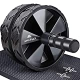 Amonax Convertible Ab Wheel Roller with Large Knee Mat for Core Abs Rollout Exercise. Double Wheel Set with Dual Fitness Strength Training Modes at Gym or Home
