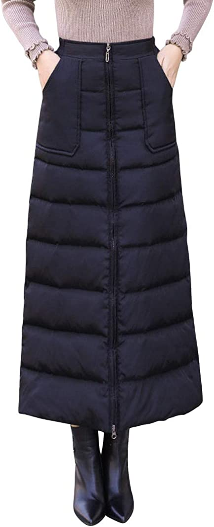 ebossy Women's Winter Zip Front High Waist Insulated Synthetic Down Quilted Long Skirt