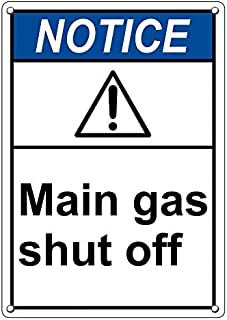Weatherproof Plastic Vertical ANSI Notice Main Gas Shut Off Sign with English Text and Symbol
