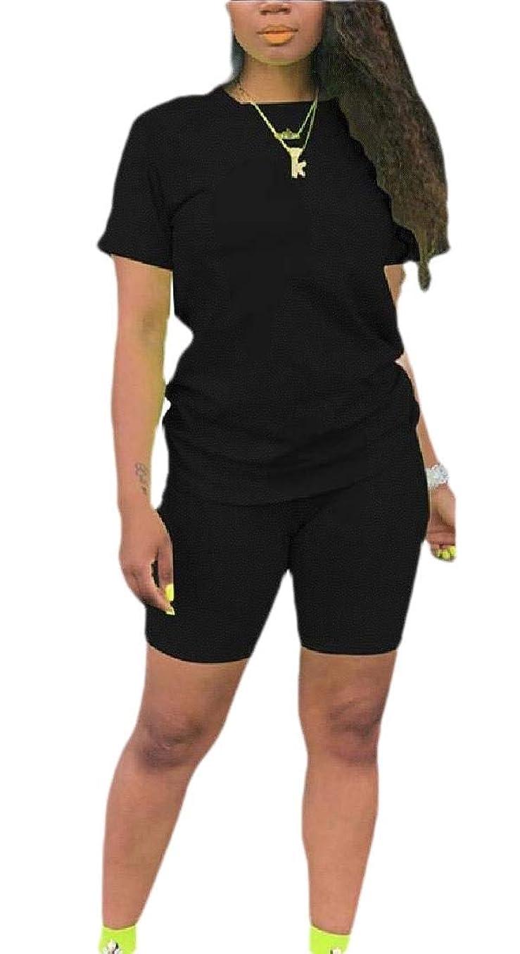 盗難マディソン蒸し器女性スポーツカジュアル丸首半袖Tシャツショートパンツセクシークラブ2ピース衣装