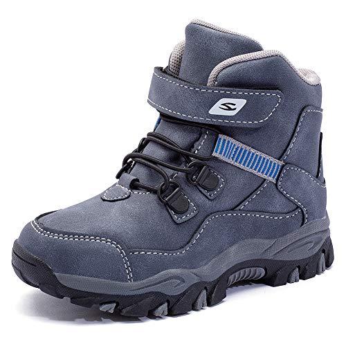 HOBIBEAR Botas de nieve para niños y niñas, botas de invierno al aire libre, impermeables, botas de senderismo (niños pequeños/niños grandes)…, azul (Blue1), 16.5 MX Niño...
