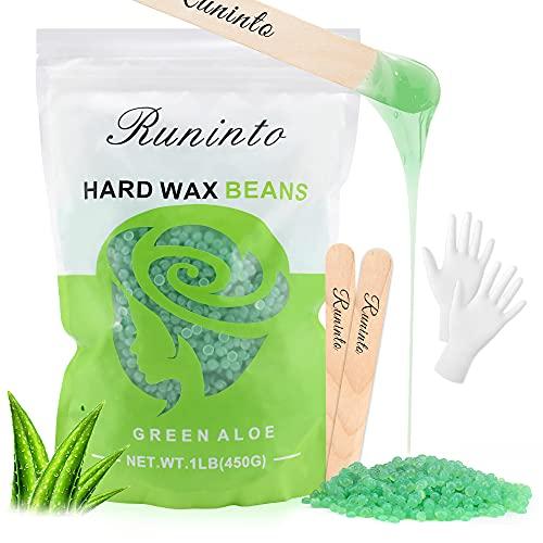 Hard wax beads,Big package (1Lb/bag),Hair Removal for women men at home,Bikini line ,Waxing Bean Home wax Kit for Facial, Legs, Arms, Body (Aloe)