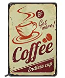 Swono Coffee Tin Signs,Get More Coffee Endless Up Vintage Metal Tin Sign for Men Women,Wall Decor for Bars,Restaurants,Cafes Pubs,12x8 Inch