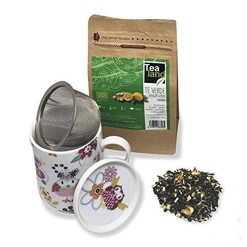 Tealand | Pack de Te verde Ecologico con Jengibre y Limon + Taza para Infusion con Tapa y Filtro | Te Adelgazante, Antioxidante y Digestivo en Hoja Entera, 100g | Tisana de porcelana