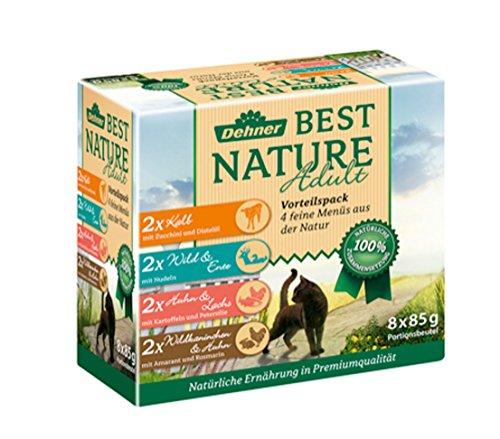 Dehner Best Nature Katzenfutter Multipack, je 2 x Kalb, Wild, Huhn & Kaninchen, im Beutel, 8 x 85 g (680 g)