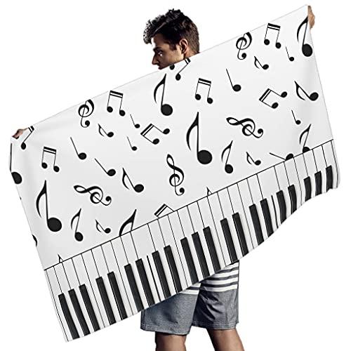 Rtisandu Toallas de playa rectangulares con piano y notas musicales, absorbentes, toalla de playa, toalla de mano, bufanda para hombres y mujeres, color blanco, 150 x 75 cm